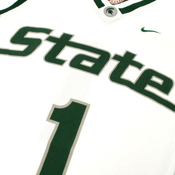 NIKE NCAA Michigan State University Spartans # 1 Elite Basketball jerseys (white)