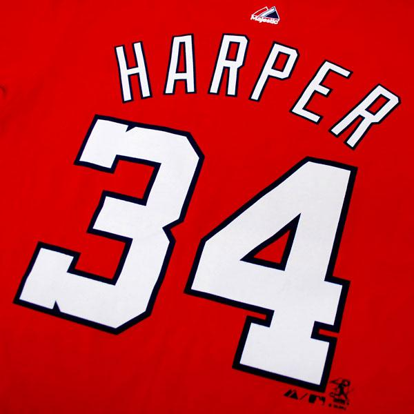 And MLB nationals Bryce Harper Kids T Shirt red majestic Player T shirt Youth