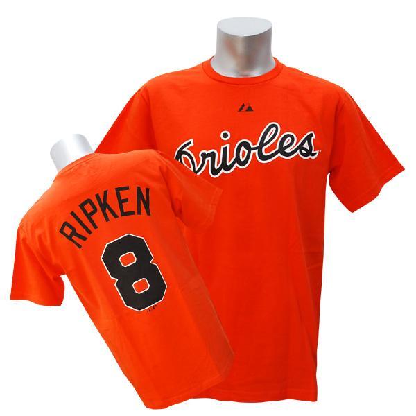 MLB オリオールズ カル・リプケン Tシャツ オレンジ マジェスティック Cooperstown Player Name & Number Tシャツ【1910価格変更】【1112】