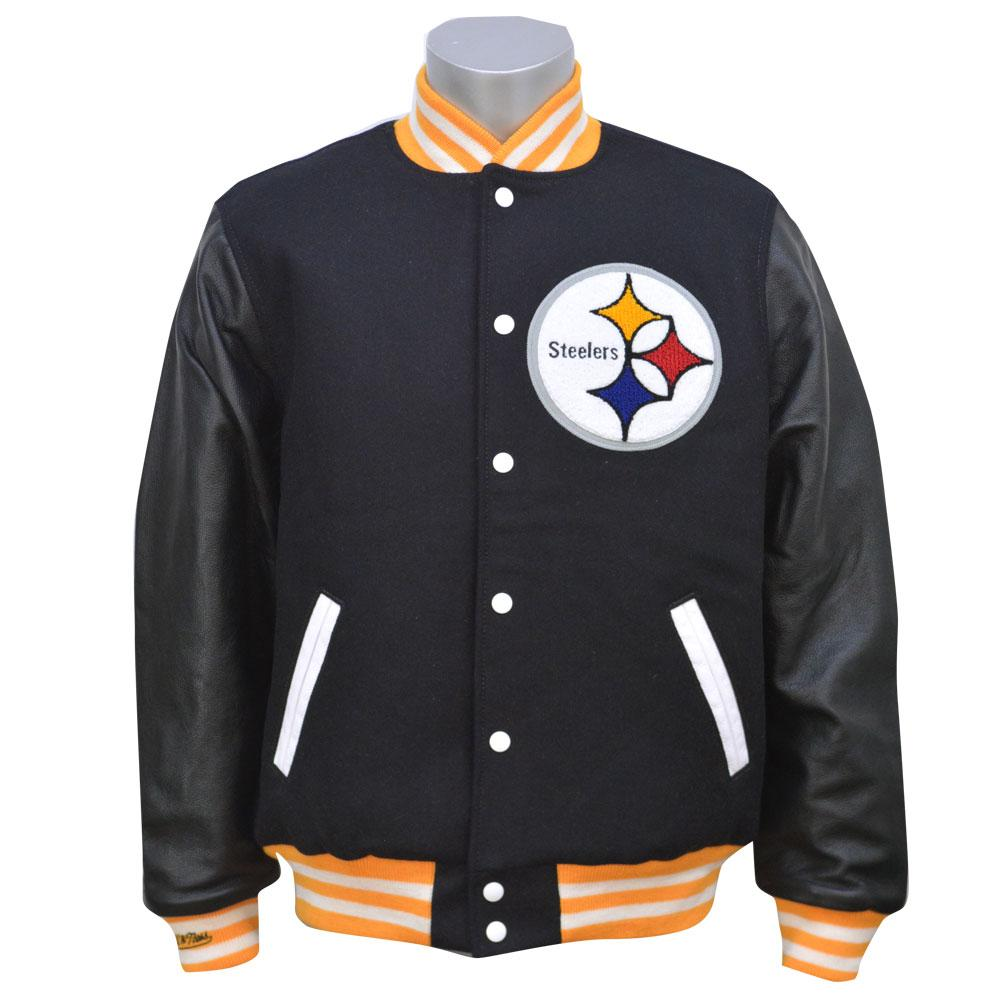timeless design eff15 ea4aa NFL Steelers jacket WOOL/LEATHER VARSITY jacket Mitchel &ness /Mitchell &  Ness