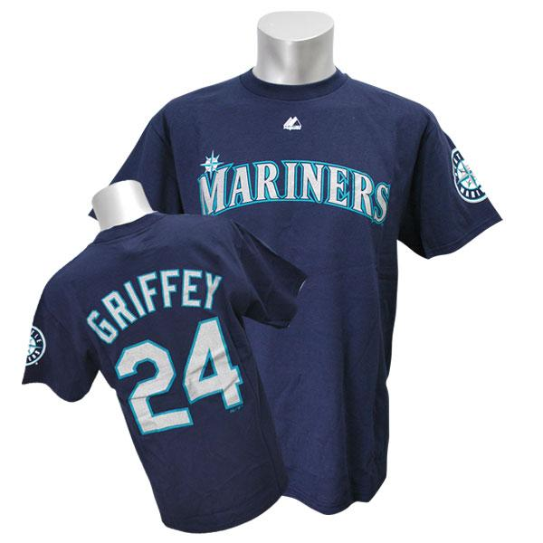 MLB Mariners Ken Griffey Jr T Shirt Navy majestic Cooperstown Player Name & Number t-shirt