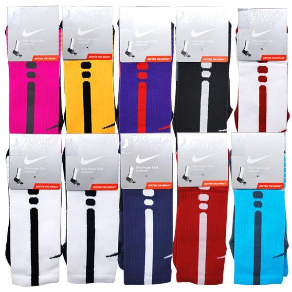 Nike /NIKE pink & grey hyper E basketball crew socks