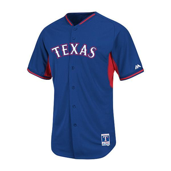 MLB レンジャーズ ユニフォーム ブルー マジェスティック Authentic 2014 BP ユニフォーム