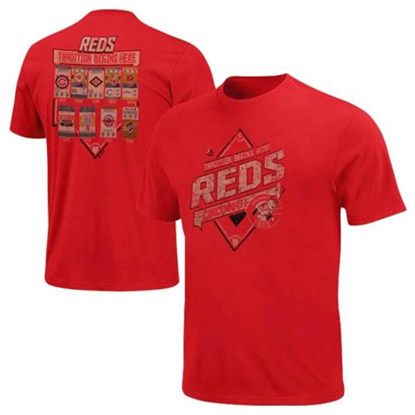 MLB reds t-shirt red majestic Copperstown Game Obsessed T shirts