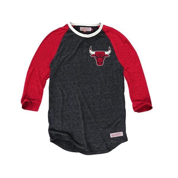 NBA Chicago Bulls Hustle Play Henley shirt (black / red) Mitchell&Ness