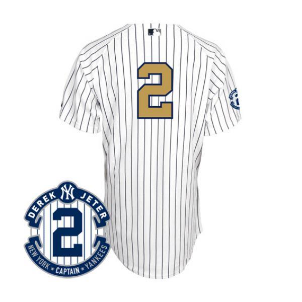 -MLB Yankees Derek Jeter jerseys gold number majestic  Majestic (Authentic  Jersey Retirement Patch) 72f648cc0c0