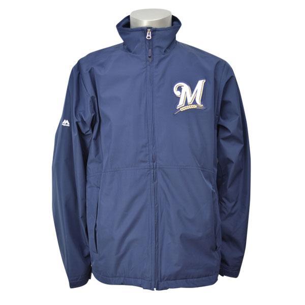 MLB ブリュワーズ ジャケット ゴールド/ネイビー マジェスティック Authentic Wind ジャケット 3-in-1バラ 【1810MLB】