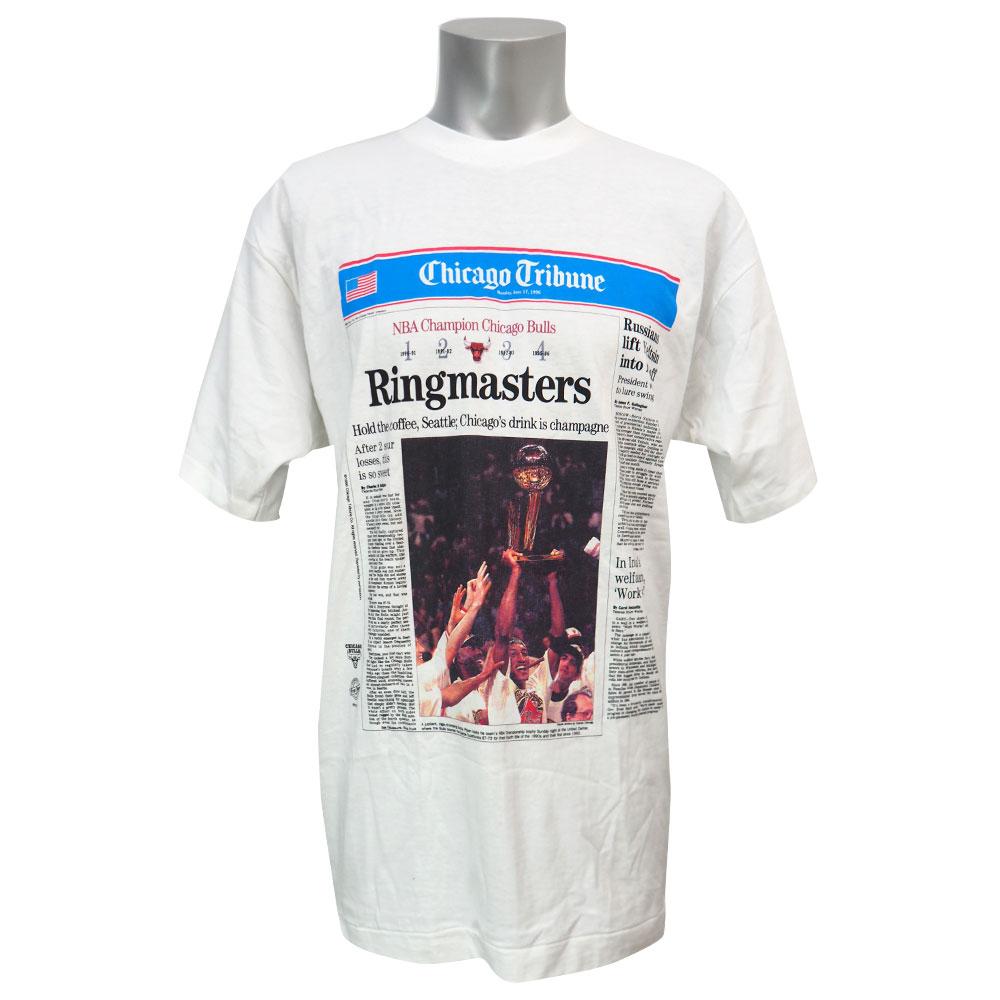 NBA Tシャツ ブルズ シカゴ・トリビューン ニュースペーパー ホワイト レアアイテム【1911NBAt】
