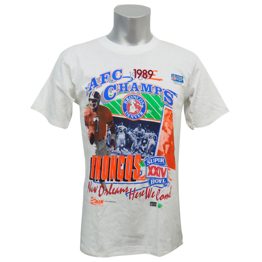 NFL ブロンコス 1989 AFC チャンピオンズ Tシャツ セーラム/Salem ホワイト レアアイテム レアアイテム レアアイテム