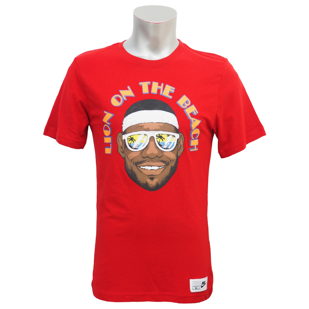 f7bdb70a Nike LeBron /NIKE LEBRON LeBron James lion on the beach T Shirt red ...