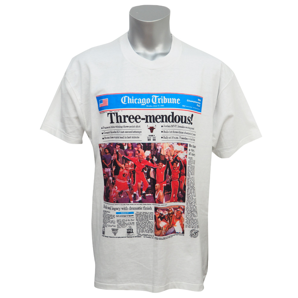 NBA ブルズ トリビューン Three-mendous Tシャツ フルーツ オブ ザ ルーム/FRUIT OF THE?LOOM ホワイト レアアイテム