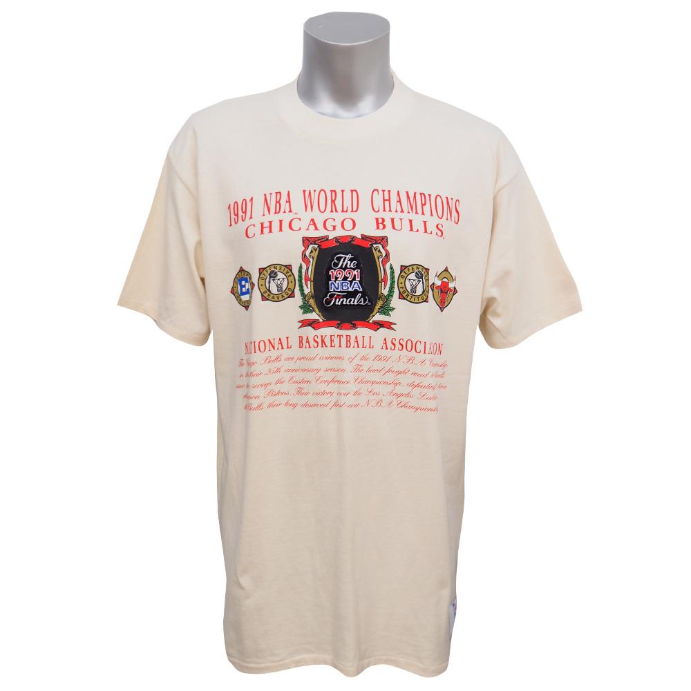 NBA ブルズ 1991 ファイナル チャンピオン Tシャツ ナツメグ/Nutmeg ホワイト レアアイテム