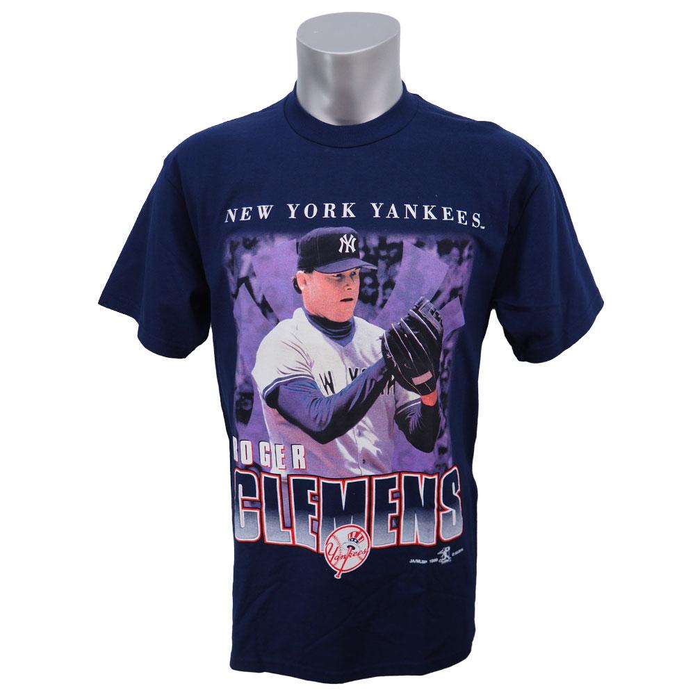 MLB ヤンキース ロジャー・クレメンス フォト Tシャツ Sport Attack ネイビー レアアイテム レアアイテム