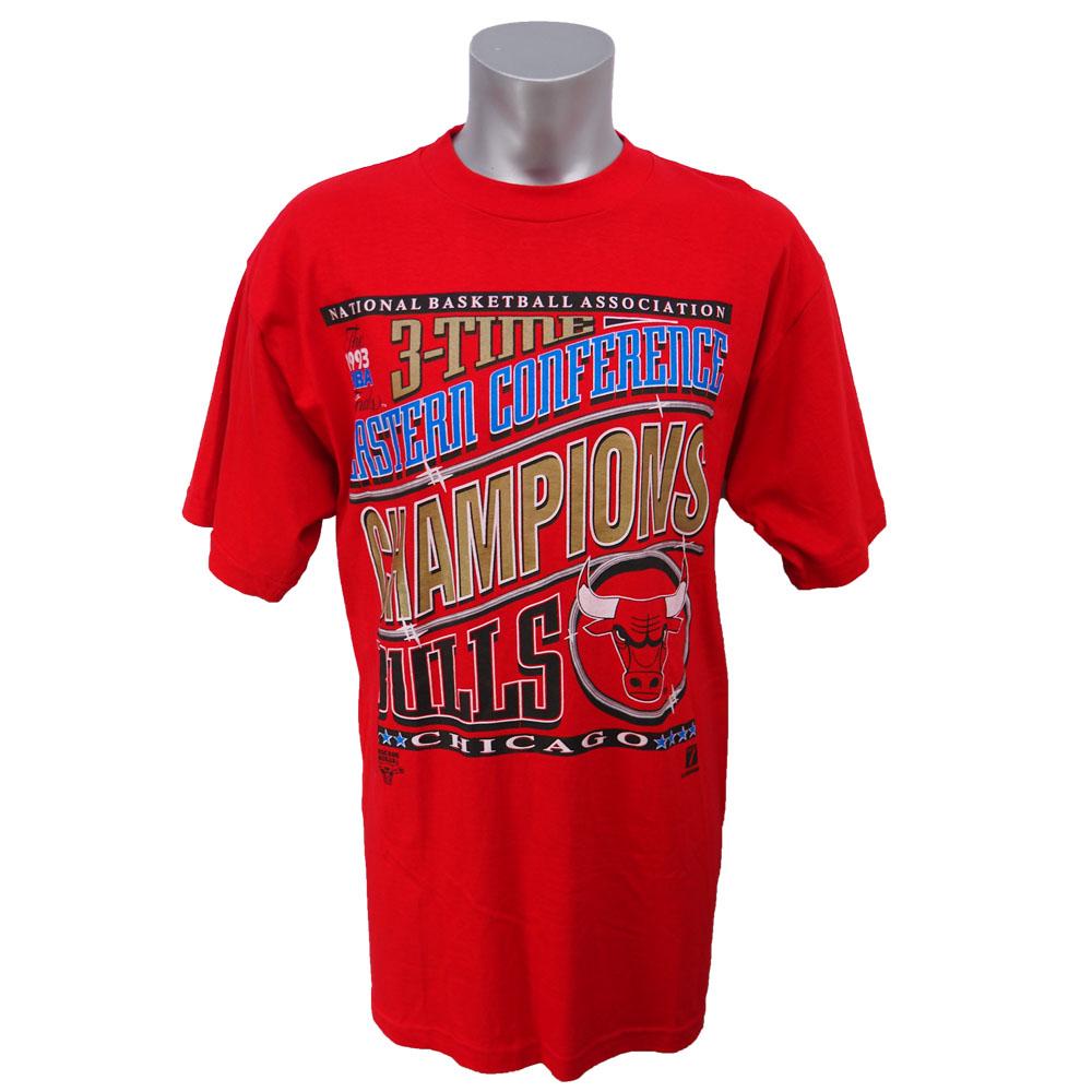 NBA ブルズ 1993年 イースタンカンファレンス 3連覇記念Tシャツ Logo7 レッド レアアイテム