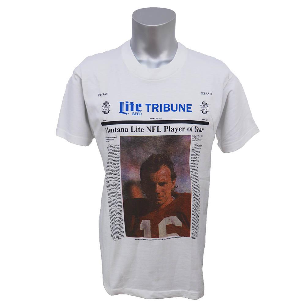 NFL 49ers ジョー・モンタナ 1991年 ジョー・モンタナ ライトオブザイヤー Tシャツ Lite Tribune ホワイト レアアイテム