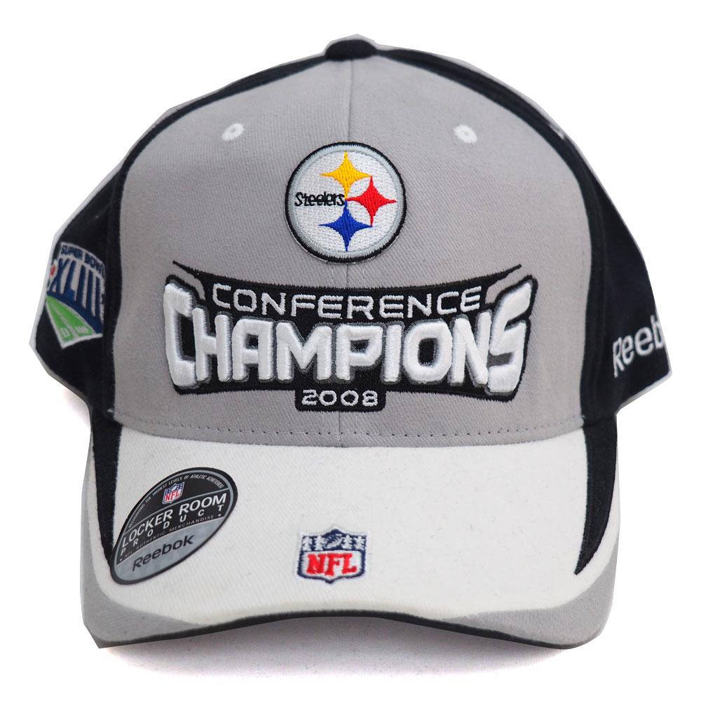 NFL スティーラーズ 2008年度 地区優勝記念 ロッカールームキャップ/帽子 リーボック/Reebok グレー レアアイテム