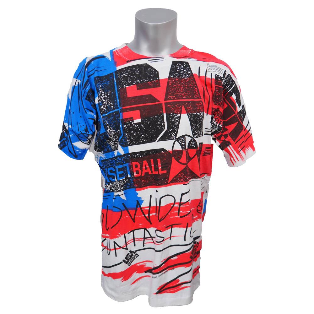 1992年 バルセロナ五輪 アメリカ代表 オールオーバー Tシャツ Magic Johnson Ts ホワイト レアアイテム