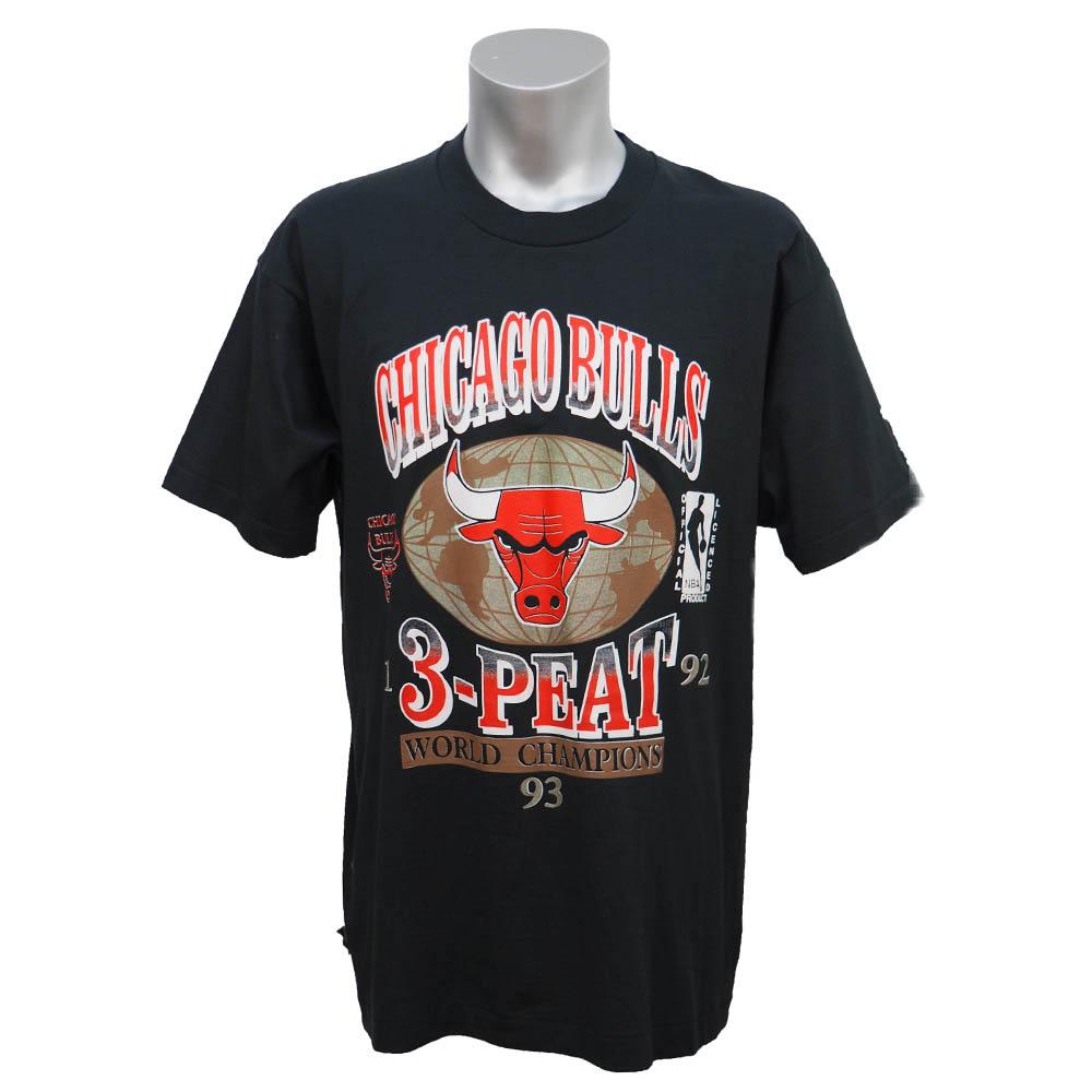 NBA ブルズ 1993年度 NBAファイナル 3連覇達成記念Tシャツ Fruit of the Loom ブラック レアアイテム