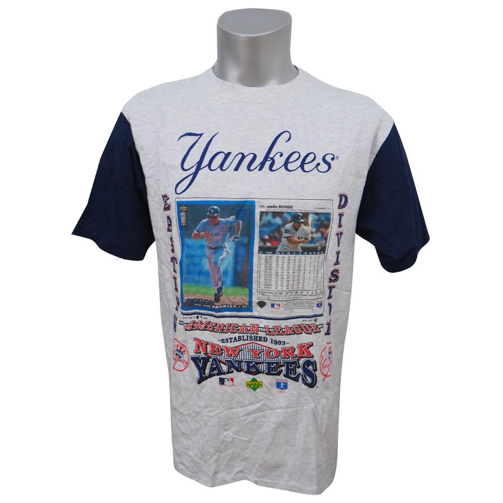 MLB ヤンキース ウェイド・ボッグス アッパーデック トレーディングカード デザイン Tシャツ SPORT ATTACK グレー レアアイテム