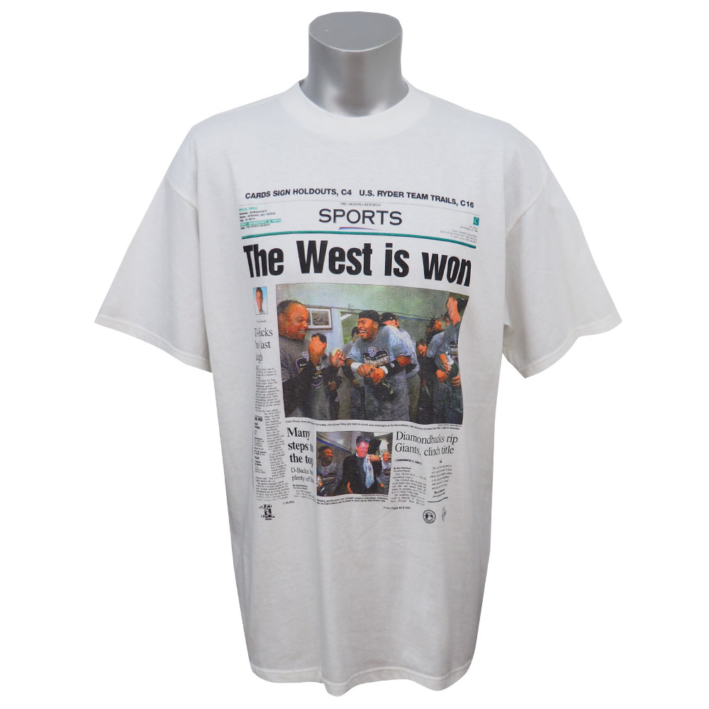 MLB ダイヤモンドバックス 1999年度 西地区優勝記念Tシャツ Tultex ホワイト レアアイテム