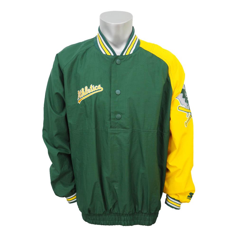 MLB アスレチックス ダイアモンドコレクション ダグアウト プルオーバージャケット STARTER グリーン/イエロー レアアイテム