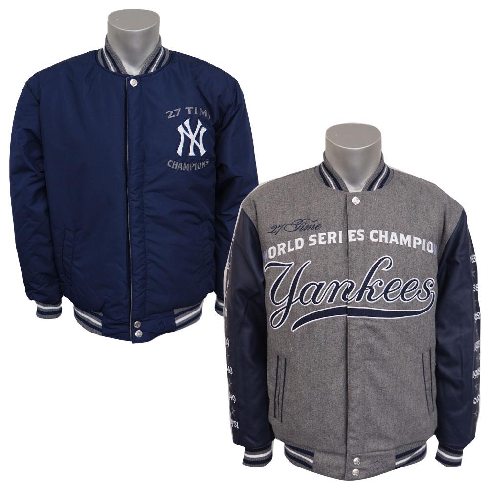 MLB ヤンキース リバーシブル コメモラティブ メルトン ジャケット JH デザイン/JH Design グレー/ネイビー