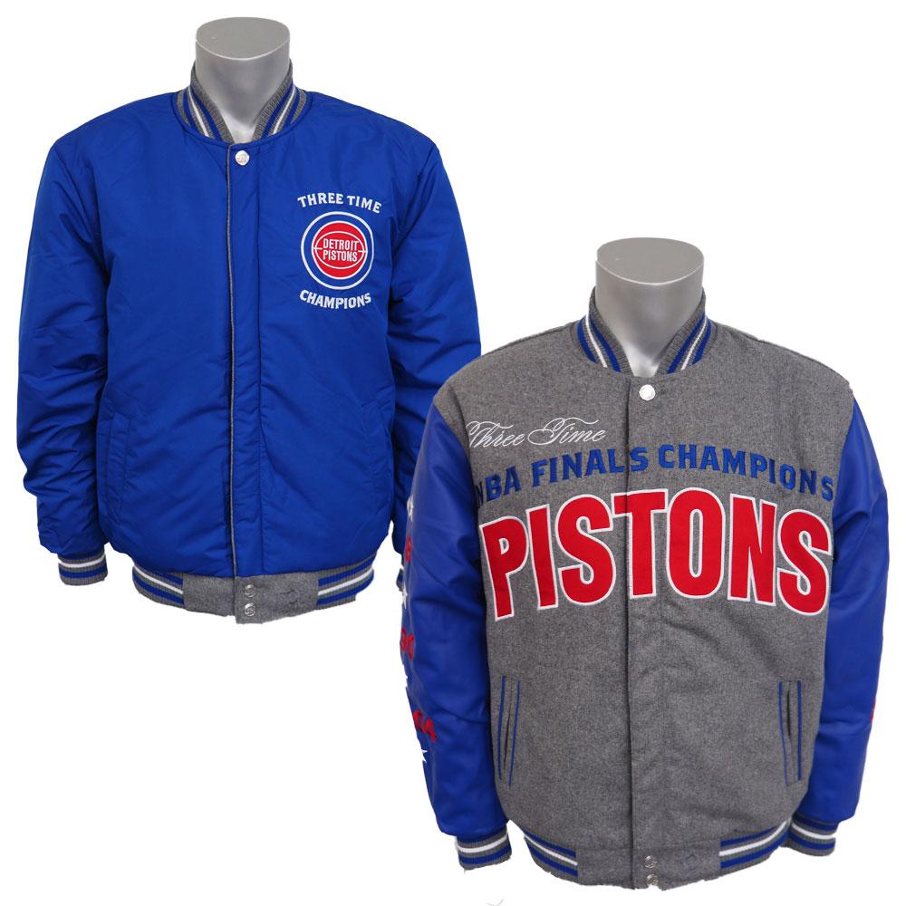 NBA ピストンズ リバーシブル コメモラティブ メルトン ジャケット JH デザイン/JH Design グレー/ロイヤル