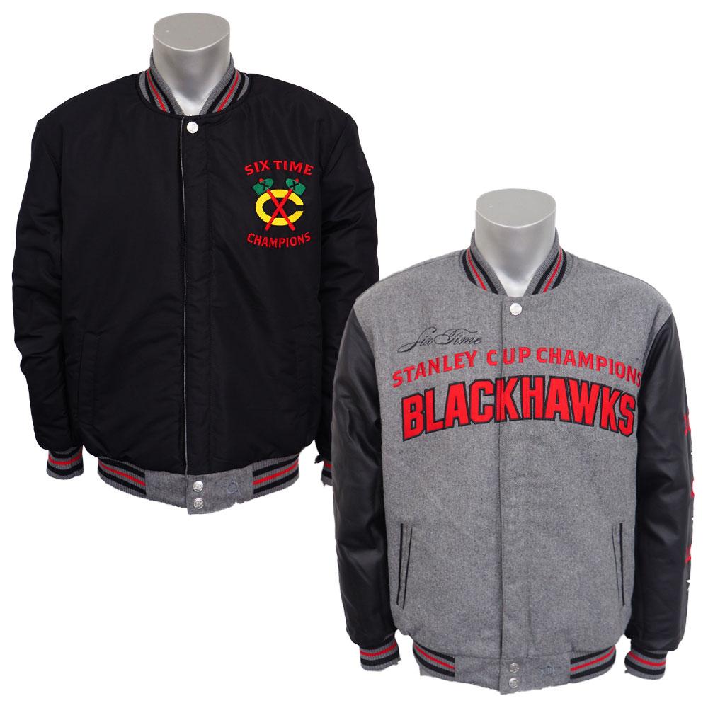 NHL ブラックホークス リバーシブル コメモラティブ メルトン ジャケット JH デザイン/JH Design グレー/ブラック