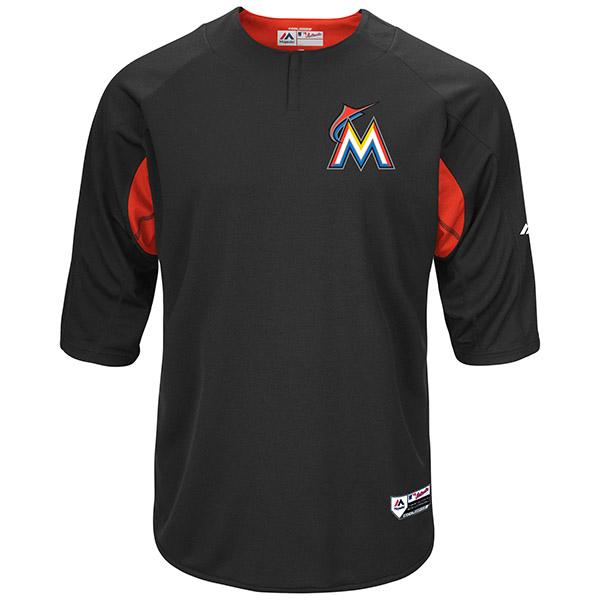 お取り寄せ MLB マーリンズ オーセンティック オンフィールド BP ユニフォーム マジェスティック/Majestic ブラック