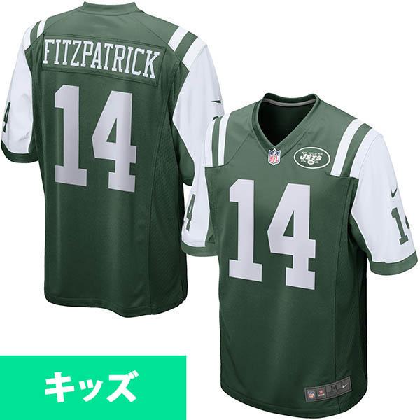 お取り寄せ NFL ジェッツ ライアン・フィッツパトリック キッズ ゲーム ユニフォーム ナイキ/Nike グリーン