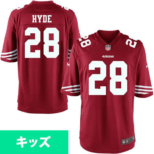 お取り寄せ NFL 49ers カルロス・ハイド キッズ ゲーム ユニフォーム ナイキ/Nike スカーレット