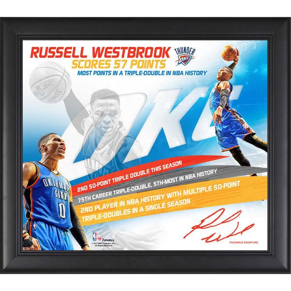 お取り寄せ NBA サンダー ラッセル・ウェストブルック 57ポイント トリプルダブル コラージュ フレーム