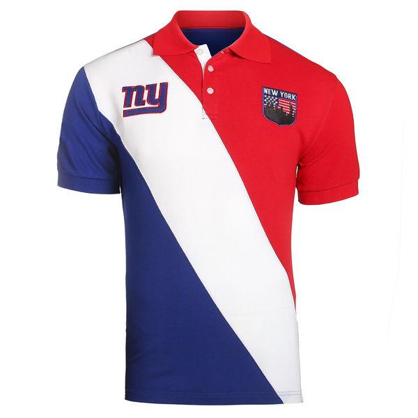 お取り寄せ NFL ジャイアンツ ダイアゴナル ストライプ ラガー ポロシャツ フォーエバーコレクタブルズ/Forever Collectibles ロイヤル