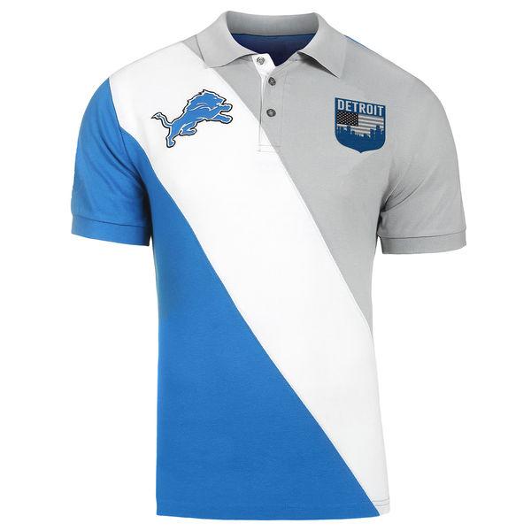 お取り寄せ NFL ライオンズ ダイアゴナル ストライプ ラガー ポロシャツ フォーエバーコレクタブルズ/Forever Collectibles ブルー