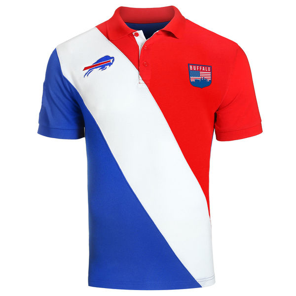 NFL ビルズ ダイアゴナル ストライプ ラガー ポロシャツ フォーエバーコレクタブルズ/Forever Collectibles ロイヤル