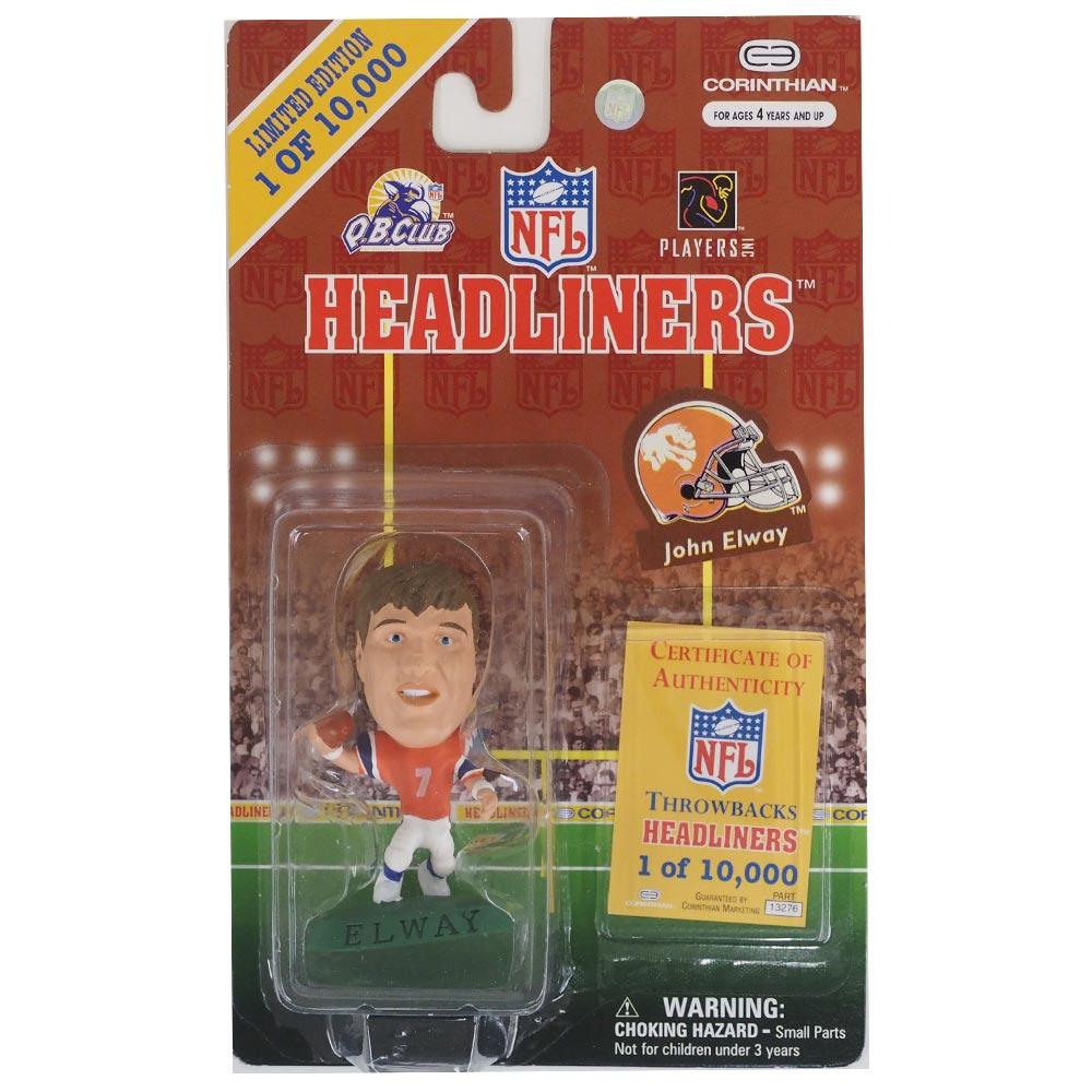 今では入手困難 NFLスター選手のフィギュア NFL ブロンコス ジョン エルウェイ ヘッドライナーズ 1997 フィギュア レアアイテム Corinthian 安心と信頼 オルタネート 春の新作続々 スローバック エディション コリンシアン NIB
