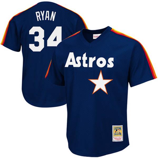 お取り寄せ MLB アストロズ ノーラン・ライアン クーパーズタウン バッティング プラクティス クォータージップ ユニフォーム Mitchell & Ness
