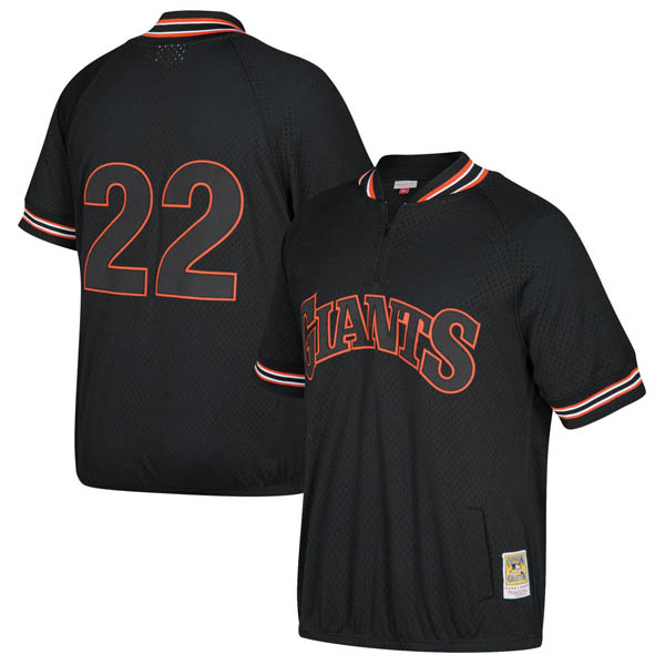 お取り寄せ MLB ジャイアンツ ウィル・クラーク クーパーズタウン バッティング プラクティス クォータージップ ユニフォーム Mitchell & Ness