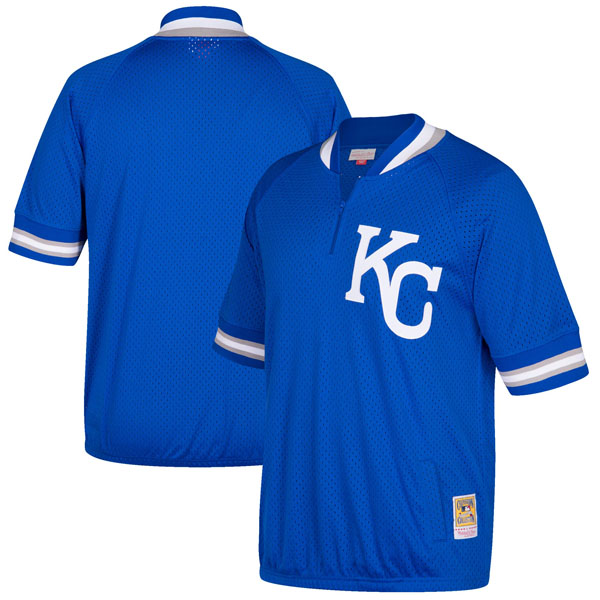 お取り寄せ MLB ロイヤルズ クーパーズタウン バッティング プラクティス クォータージップ ユニフォーム Mitchell & Ness