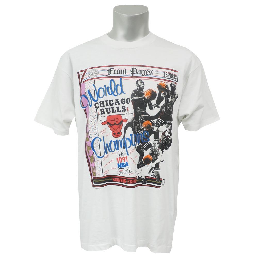 NBA ブルズ 1991 ワールドチャンピオン フロントページズ Tシャツ SCREEN STARS ホワイト レアアイテム