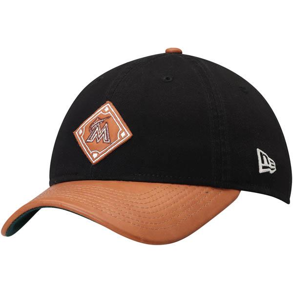 お取り寄せ MLB マーリンズ Wilson コラボレーション 9TWENTY アジャスタブル キャップ/帽子 ニューエラ/New Era ブラック/ナチュラル