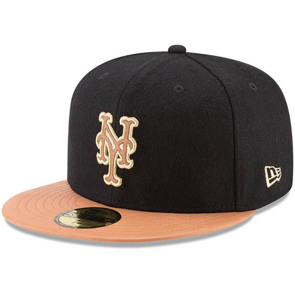 お取り寄せ MLB メッツ Wilson コラボレーション 59FIFTY フィッテッド キャップ/帽子 ニューエラ/New Era ブラック/ナチュラル