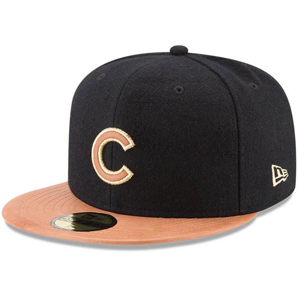 お取り寄せ MLB カブス Wilson コラボレーション 59FIFTY フィッテッド キャップ/帽子 ニューエラ/New Era ブラック/ナチュラル