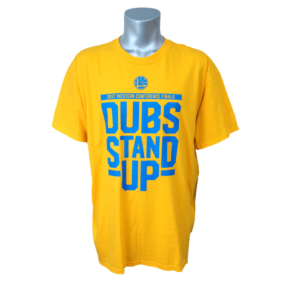 NBA ウォリアーズ 2017 ウェスタン カンファレンス DUBS STAND UP Tシャツ Kaiser Permanente イエロー レアアイテム