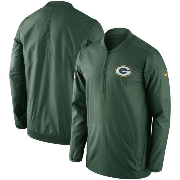 お取り寄せ NFL パッカーズ サイドライン ロックダウン ハーフジップ ジャケット ナイキ/Nike グリーン