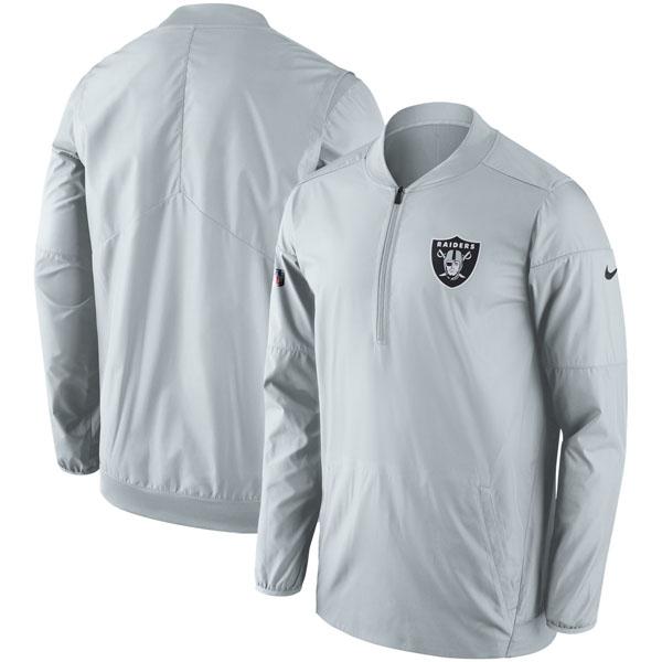 NFL レイダース サイドライン ロックダウン ハーフジップ ジャケット ナイキ/Nike チャコール