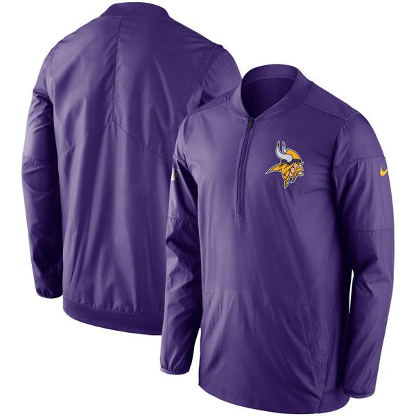 お取り寄せ NFL バイキングス サイドライン ロックダウン ハーフジップ ジャケット ナイキ/Nike パープル
