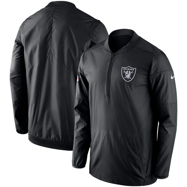NFL レイダース サイドライン ロックダウン ハーフジップ ジャケット ナイキ/Nike ブラック