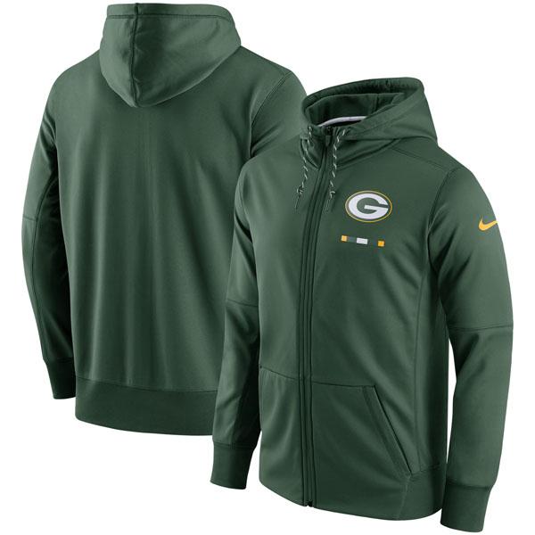 お取り寄せ NFL パッカーズ サイドライン ロゴ パフォーマンス フルジップ パーカー ナイキ/Nike グリーン