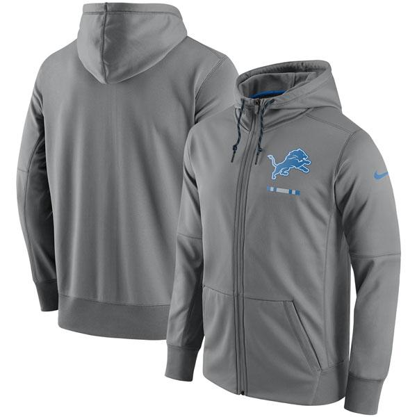 お取り寄せ NFL ライオンズ サイドライン ロゴ パフォーマンス フルジップ パーカー ナイキ/Nike チャコール